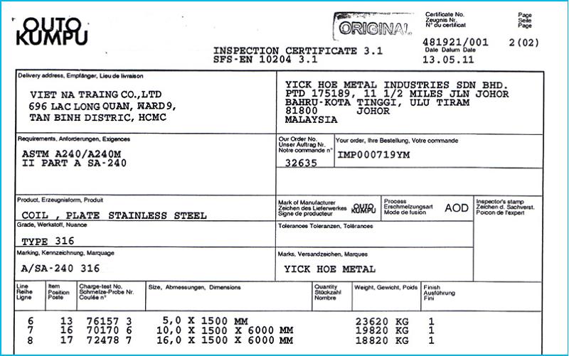 certificate of origin la gi